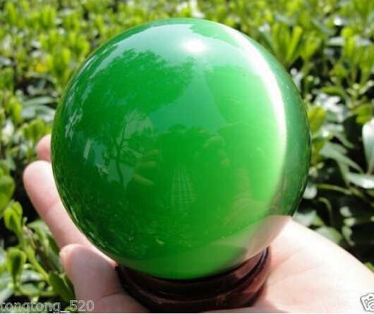 Jual Hot Asia Kuarsa Green Kucing Mata Kristal Bola 60 Mm + Stand
