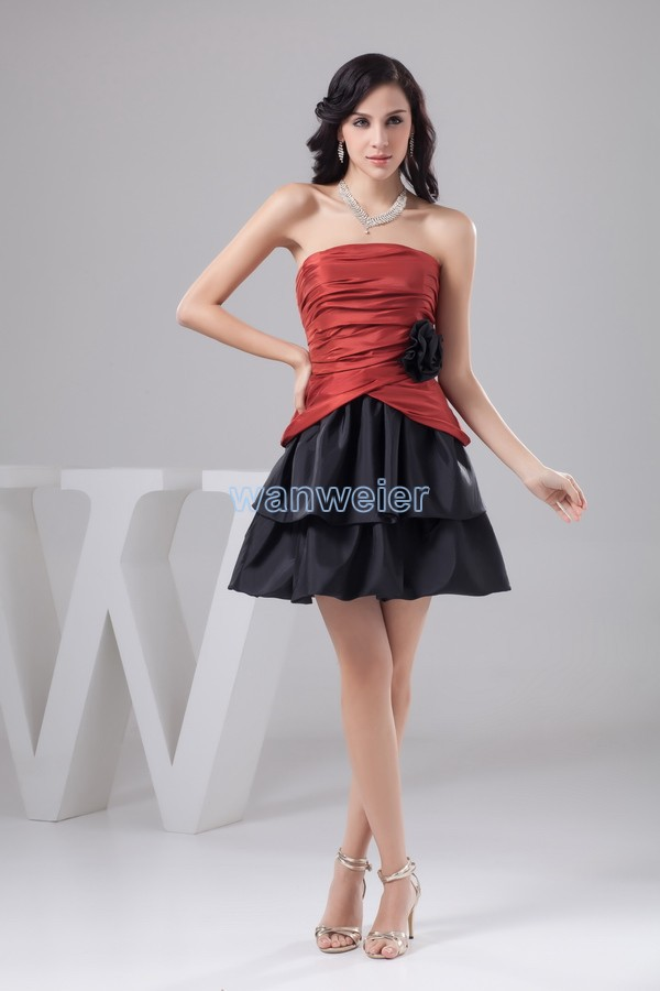 Free Shipping 2016 New Design Handmade Flower Knee-Length Really Photo Custom Size/color Sexy Pleat A-line Short Cocktail Dress
