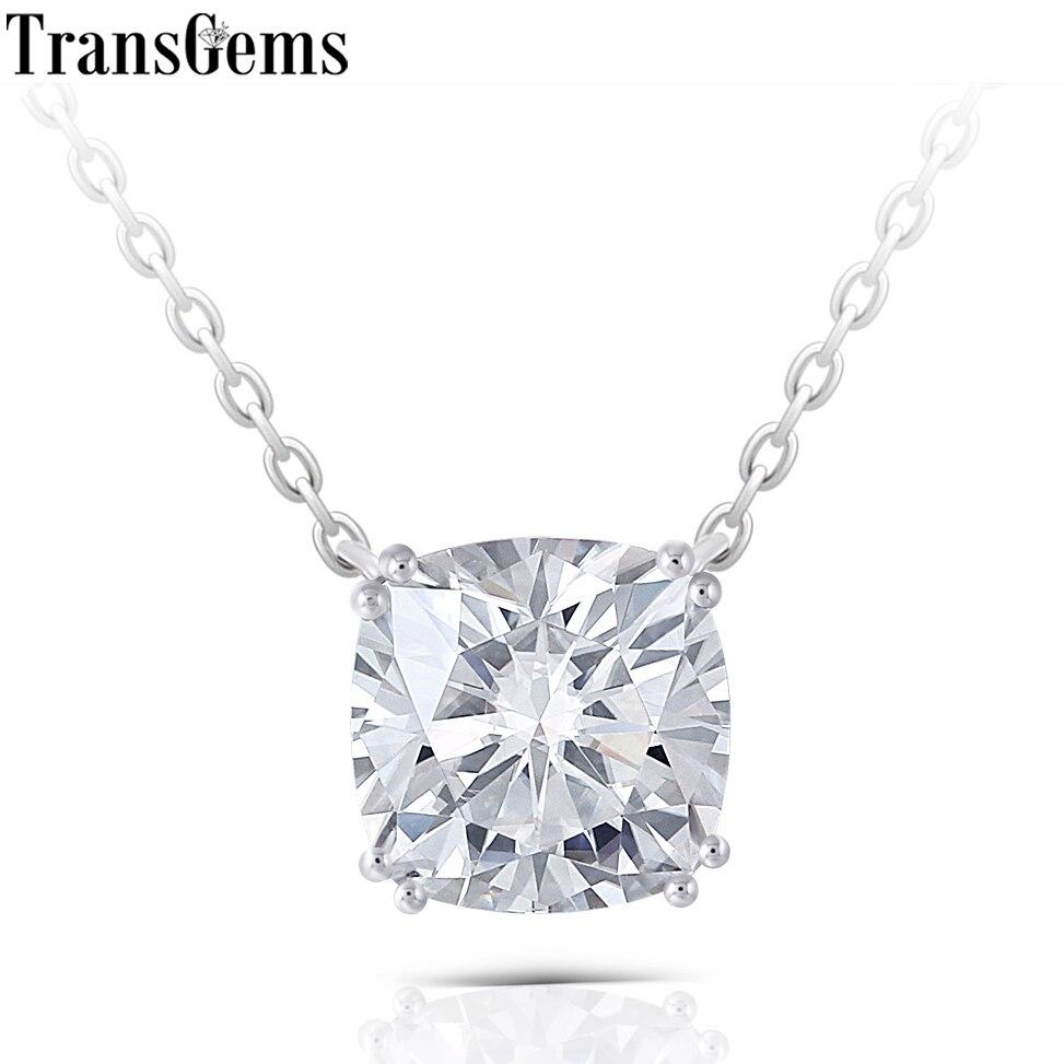 Ccushion cut moissanite pendant necklace (1