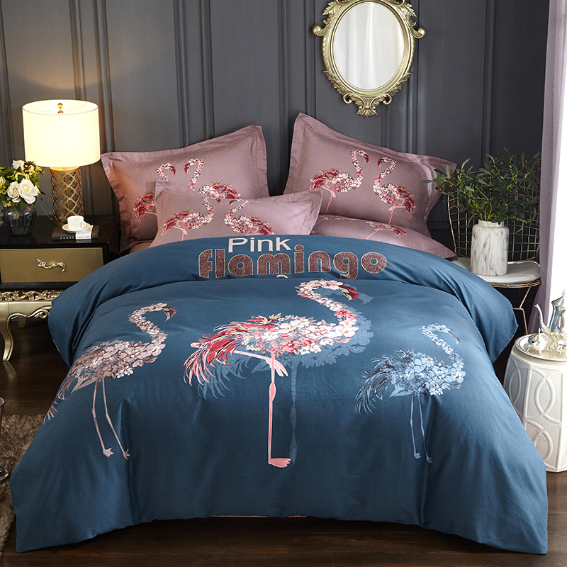 Pink Flamingo Queen King Size Bedding Sets 4pcs Bed In A Bag