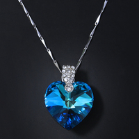 Blue Ocean Heart Pendant Necklace Women CZ Crystal Heart Pendant Choker Necklaces 925 Silver Femme Jewelry