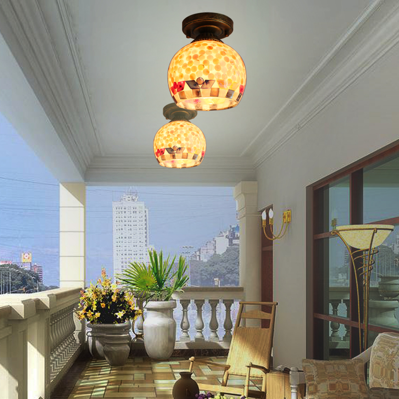Mediterranean LED bedroom shell ceiling lamp personalized balcony   aisle corridors entrance cloakroom shell lampsMediterranean LED bedroom shell ceiling lamp personalized balcony   aisle corridors entrance cloakroom shell lamps