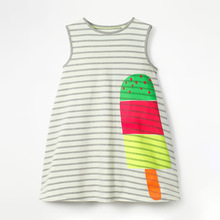 Little Maven New Summer Kids Clothing Gray Striped Sleeveless Ice-lolly Printed O-neck Knitted 1-6yrs Cotton Girls Dresses