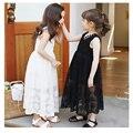 Maxi vestidos largos de encaje para las niñas negro blanco pequeña niñas adolescente princesa vestidos a media pierna del resorte largo verano embroma la ropa 2016