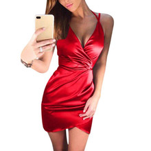Women Sexy Burgundy Deep V-neck strap Dresses Crossed Front Mini Dress Bodycon Vestidos 2018 Lace-up Cocktail party Dress