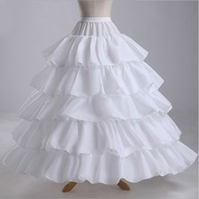 Women Ball Gown Petticoats 4 Hoops 5 Layers White Ruffles Satin Wedding Petticoat Crinoline Underskirt Accessories