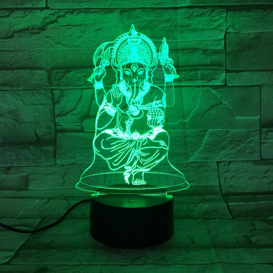 USB 3d Led Night Light Ganesa Figure Visual Buddhism Gaapati Decorative Lights Mom Mother Gift Elephant Desk Lamp Bedroom Neon in LED Night Lights from Lights Lighting