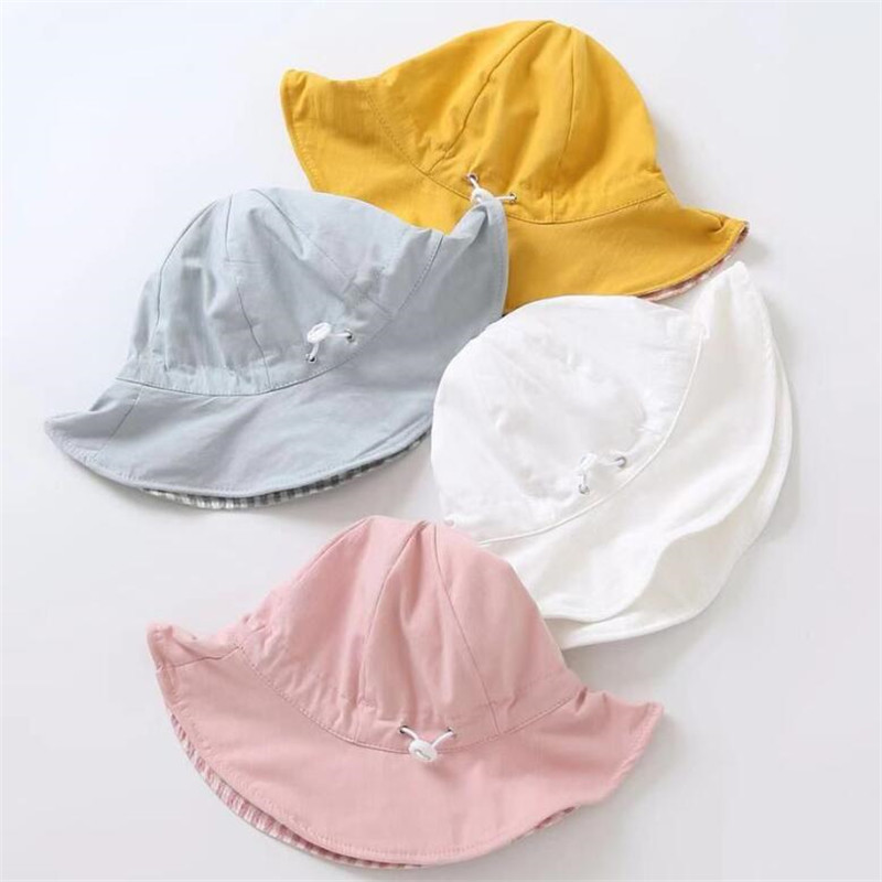 New Spring Baby Girls Sun Hat Double Sided Can Wear Summer Cotton Baby Hat Kids Boys Bucket Hat Child Sun Cap in Hats Caps from Mother Kids
