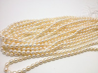 Handmade White Real Pearl Rice Beads 6 7mm AAA Natural Freshwater Pearl Rice Beads 40cm Long