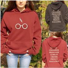 2018 summer autumn ladies girl harries Potter fleece hoodie sweatshirts lightning bolt printed pull casual gift clothes Xnxee
