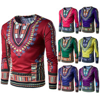 African Dashiki Dresses African Clothing 2017 Hot National Dress 3 D Fake Two Big Wind Printing Long-sleeved Round Neck T-shirt