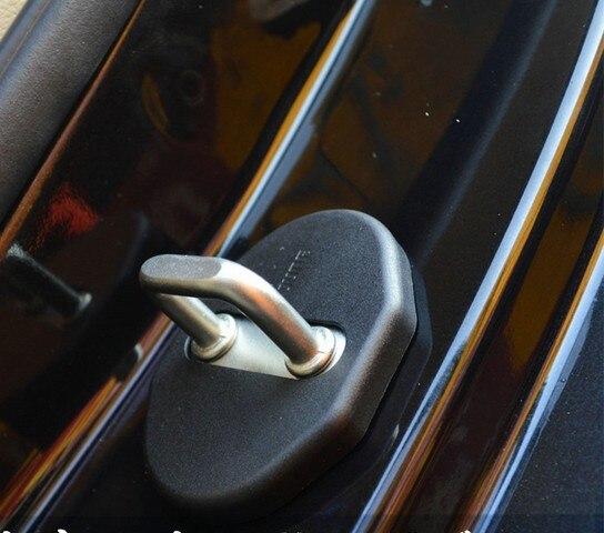 For M itsubishi O utlander 2006-2012 MX5 Pajero Car Door Lock Protective Cover Anti-corrosion Carbon Fiber Door Lock Cover Black 4Pcs