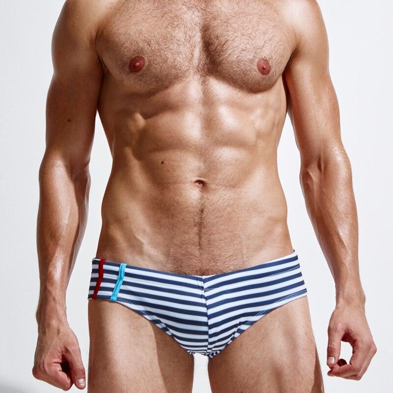 Superbody marca rayas sexy bañadores Venta caliente hombres bañador Boxers playa Bañadores cómodo suave troncos