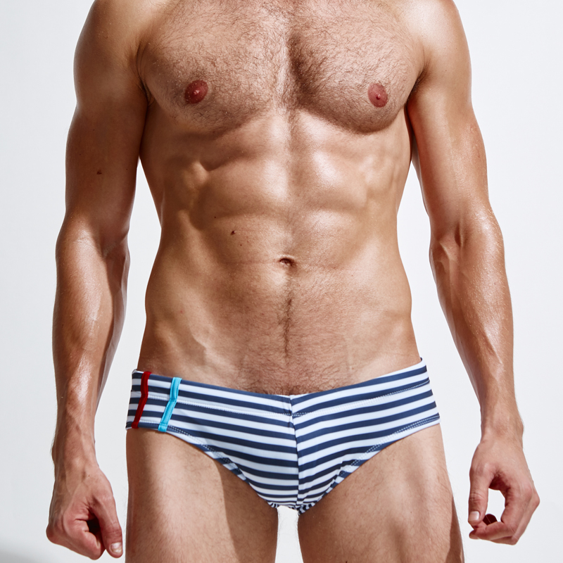 superbody Brand Striped sexy swimwear Hot sell swimming Trunks Men's Boxers Beach Swimwear comfortable smooth Trunks