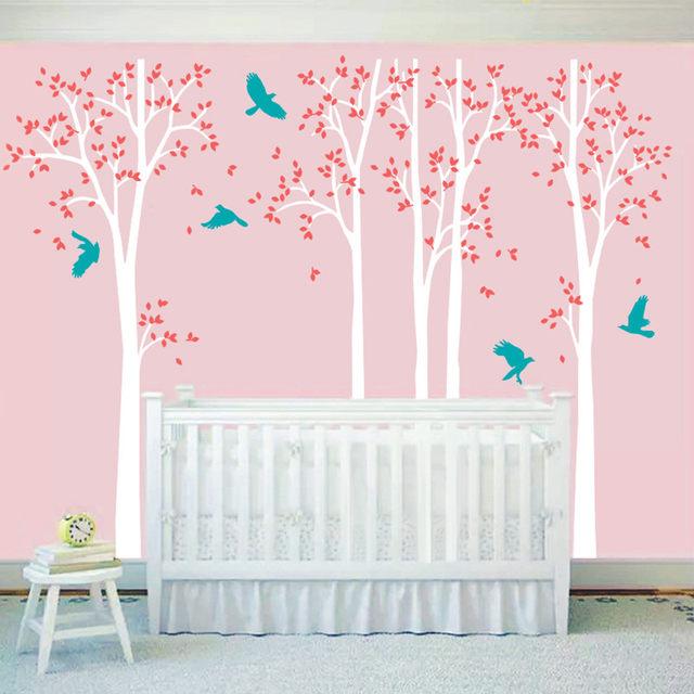 Five Huge White Tree Wall Decal Vinyl Stickers   Birds Decals   Baby  Nursery Bedroom Wall Art Mural, Kids Wall Sticker Wallpaper