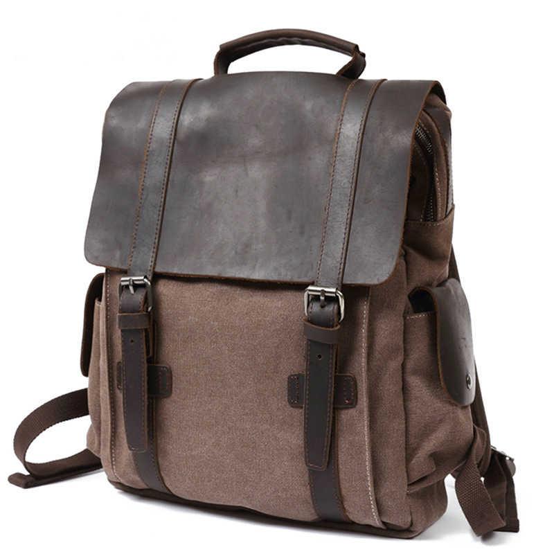 Lona Vintage con Mochila De Cuero genuino mochila escolar para hombres mochila de viaje a prueba de desgaste 15,6 ''mochilas portátiles para mujer
