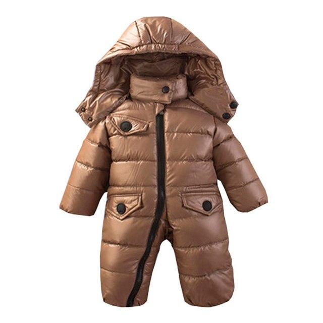 Горячая продажа! 2016 Детские тепловые комбинезоны Зима jecket snowsuit утка вниз комбинезон outerward платье, малыш мальчик зимнее пальто 620
