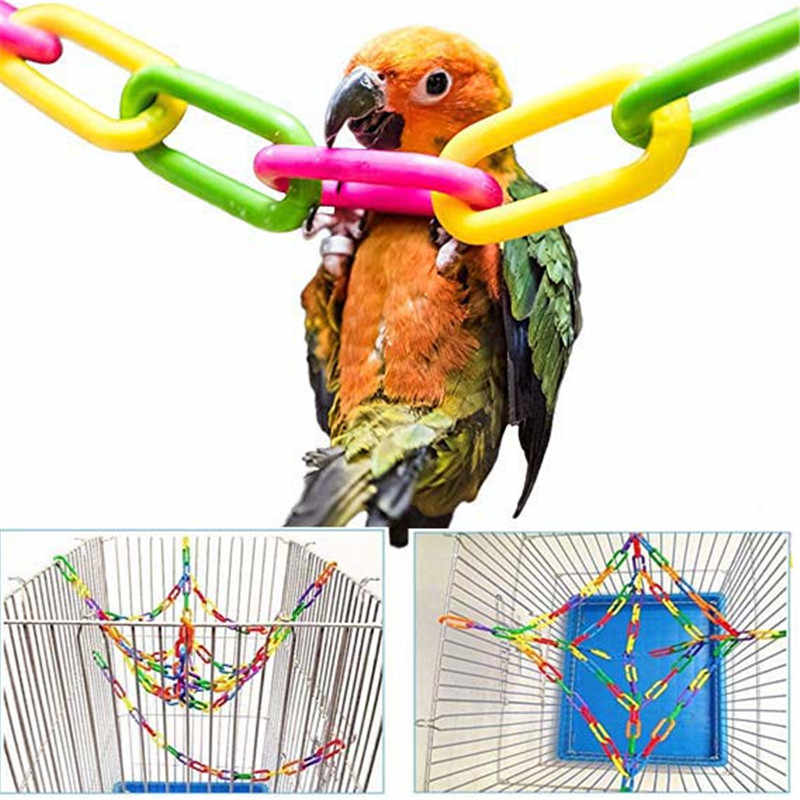 100Pcs/50Pcs Parrot Toys Clips Hanging Hooks Bird Stand Chain Rainbow Rat Bird Colorful DIY Toy birds accessoires Bird cage