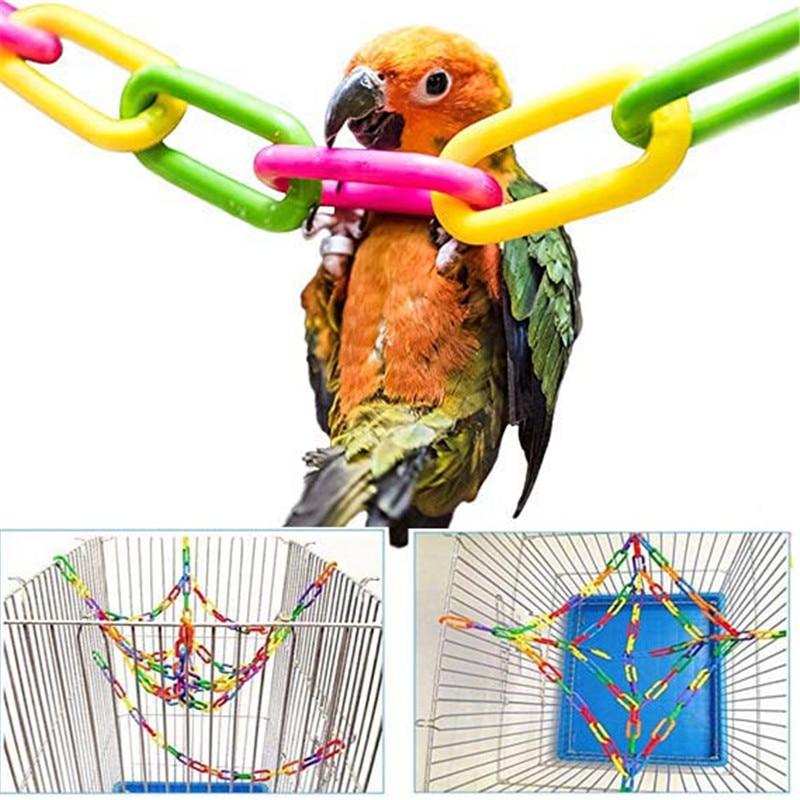 100Pcs/50Pcs Parrot Toys Clips Hanging Hooks Bird Stand Chain Rainbow Rat Bird Colorful DIY Toy Birds Accessoires Bird Cage