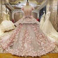 Ангел NOVIAS длинные Trouwjurk розовый бальное платье Арабские подвенечные платья 2018 с 3D цветы Vestido де Novia Свадебные платья