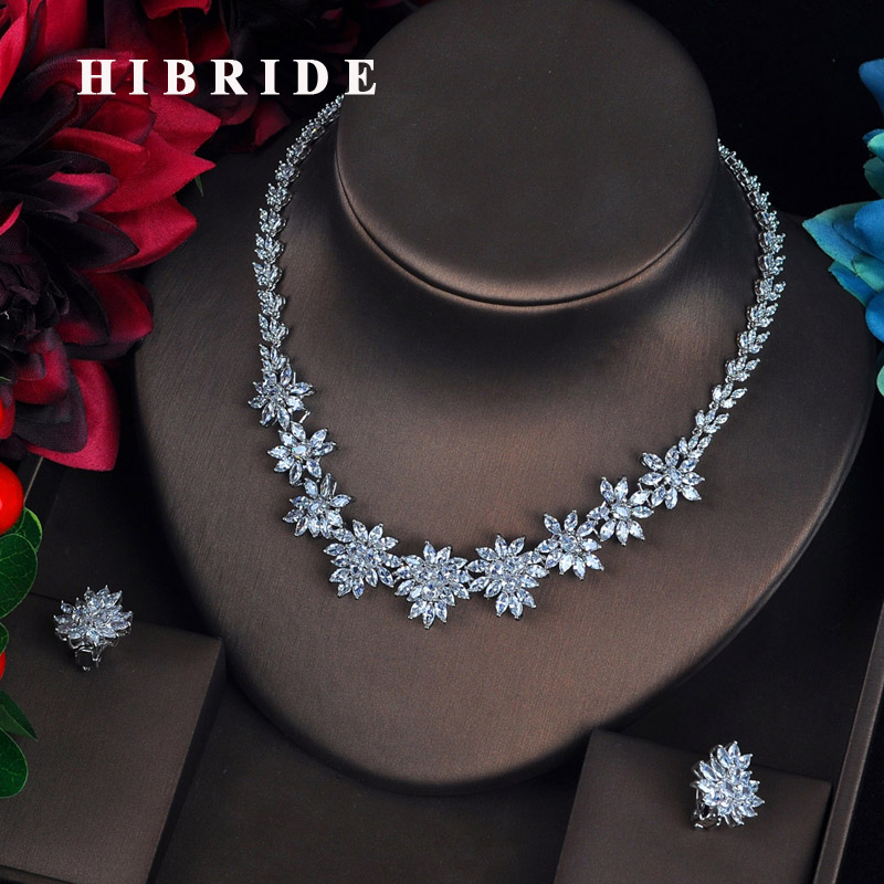 HIBRIDE Luxury Clear Marquise Cut CZ Stone Pendientes Wedding Jewelry Sets Flower Shape Earring Necklace Brincos Bijoux N-632 hibride luxury new butterfly shape earring necklace jewelry set women party jewelry small link pendant brincos bijoux n 643