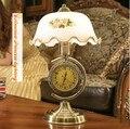 Американский ретро настольная лампа спальня ночники затемнения с часами декоративное стекло гостиная настольная лампа, E27, AC110-240V.