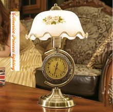 American retro table lamp bedroom bedside lamp dimmable with clocks decorative glass living room table lamp, E27, AC110-240V.