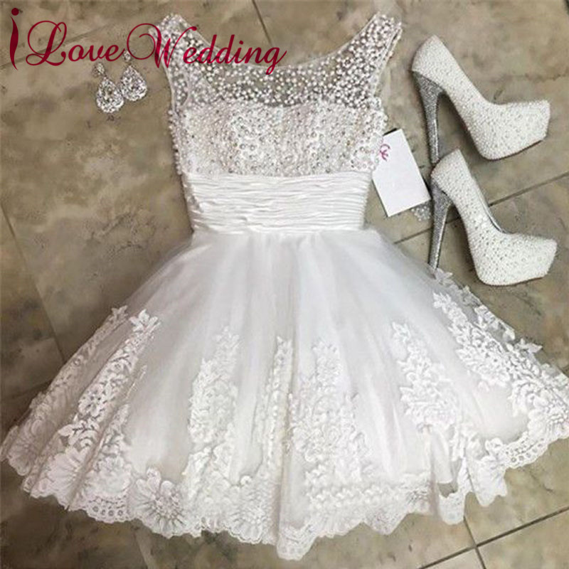 New Fashion 2019 Short Wedding Dress Pearl Beaded A Line Lace Applique Knee Length Elegant Bridal Wedding Gown