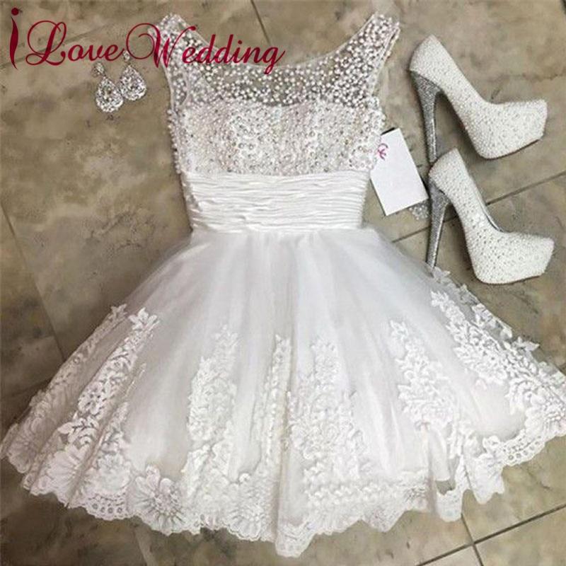 New Fashion 2019 Short Wedding Dress Pearl Beaded A Line Lace Applique Knee Length Elegant Bridal Wedding Gown