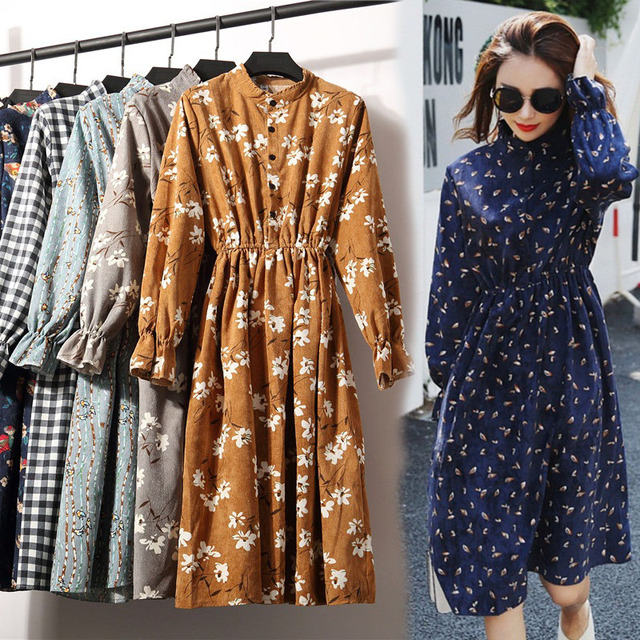 23Colors High Quality Fashion New Autumn Winter Women Long Sleeve Dress Retro Collar Casual Slim Dresses Floral Print Style Cute