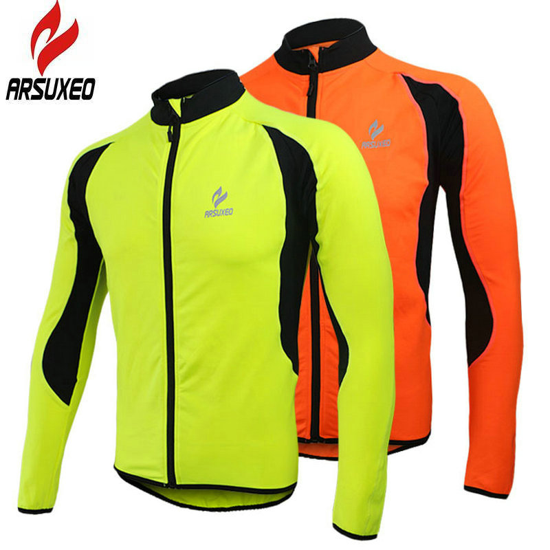 Arsuxeo 2018 Top Men Winter Thermal Fleece MTB Bike Bicycle Cycling Jersey Outdoor Sport Running Jacket Coat Fluorescent 130022 2015 arsuxeo mtb 1202