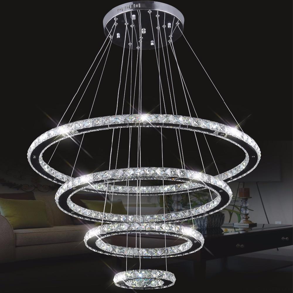Mirror stainless steel crystal diamond lighting fixtures 4 rings led pendant lights cristal dinning decorative hanging lamp