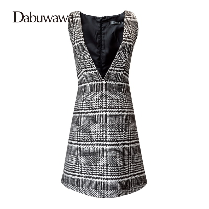 Dabuwawa Woolen A-Line Deep V Split High Waist Plaid Pleated Skirt Elegant Suspender Skirt Sleeveless Jumper Skirts #D17CDX009 pleated high waist a line skater skirt