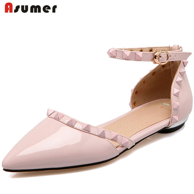 Asumer Plus size 34-48 women PU patent leather flats single shoes buckle rivets solid pointed toe fashion shoes party