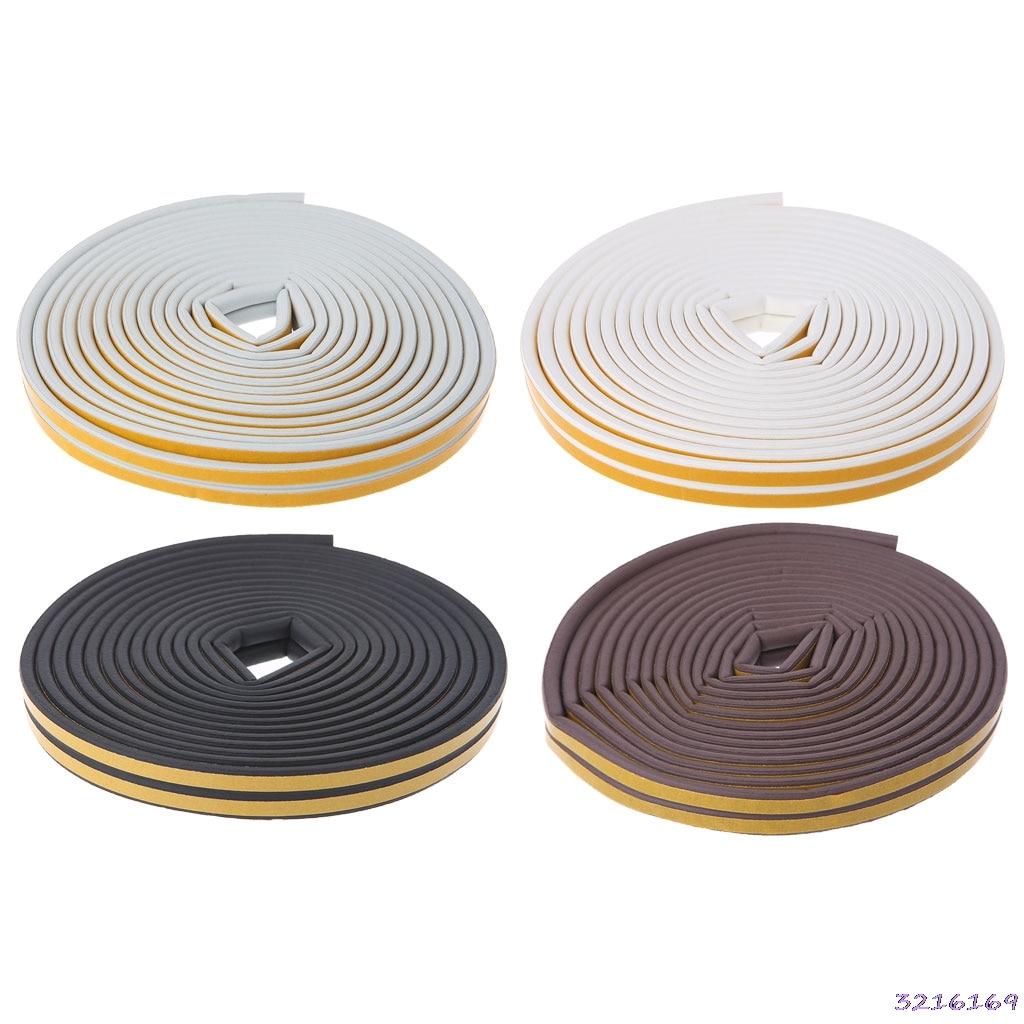 1Pc 10M D-Type Foam Draught Self Adhesive Window Door Excluder Rubber Seal Strip-38#