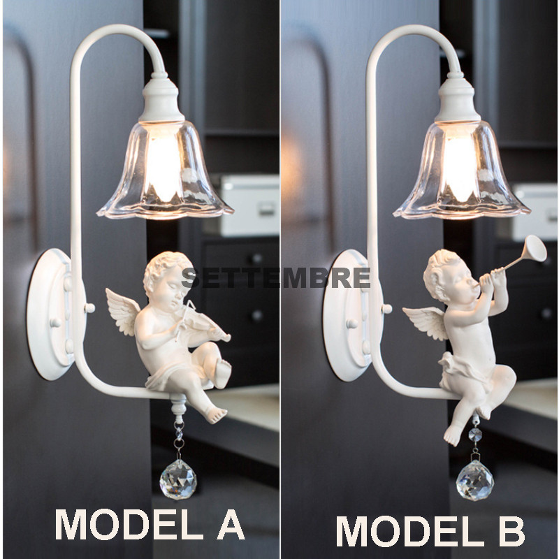 Modern Little Angel Crystal Wall Lamp White Bedroom Living Room Glass Wall Light Sconces Fixture crystal wall light lustres wall sconces lamp bedroom wall brackets lighting fixture for bedroom living room 100% guarantee