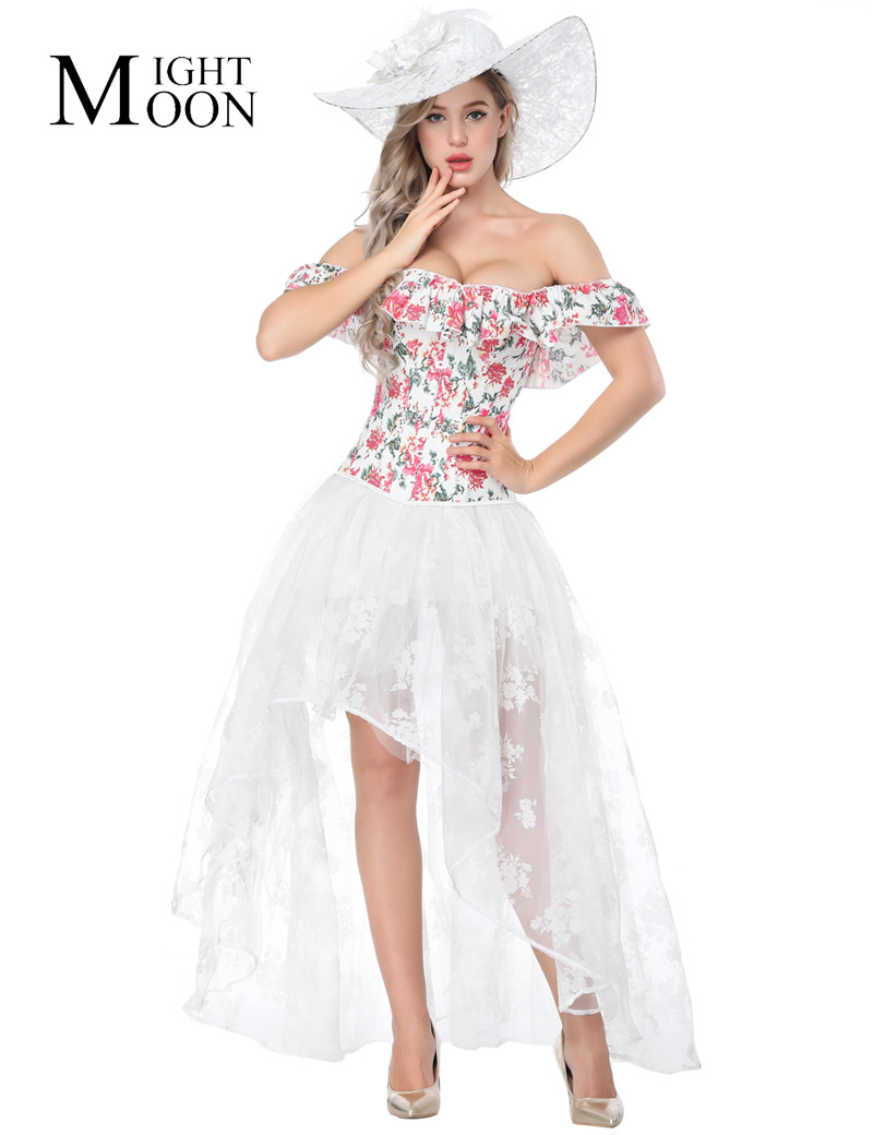 MOONIGHT Off Shoulder Corset for Women Ruffles White and Red Lace Up Corsets Bustier Sexy Floral Clothing Corselet Tops