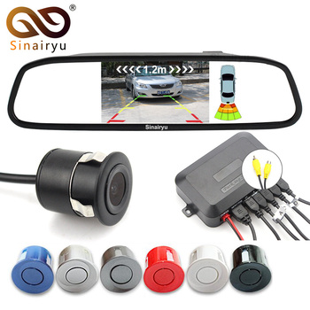 Sinairyu 3in1 Car Video Parking Sensor Assistance, The 4.3 Inch Mirror Monitor Connect to Rear View Camera and Parking Sensor