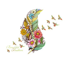 1PCS Feather Bird Butterfly Flower Wall Stickers DIY For Living Room PVC Decals Mural Home Decoration 45*60CM