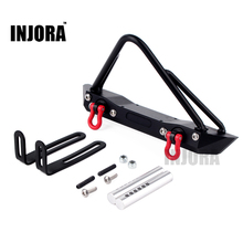 INJORA Metal Front Bumper with RC Crawler Winch Mount 135mm for 1/10 RC Rock Car Axial SCX10 90046