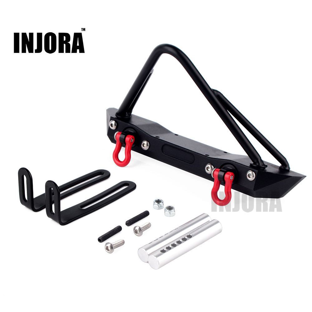 Metal Front Bumper for 1/10 RC Crawler Jeep Wrangler Rubicon Axial SCX10 RC4WD D90 rc truck front bull bar front bull bar metal bumper light defender for 1 10 rc4wd d90 axial scx10