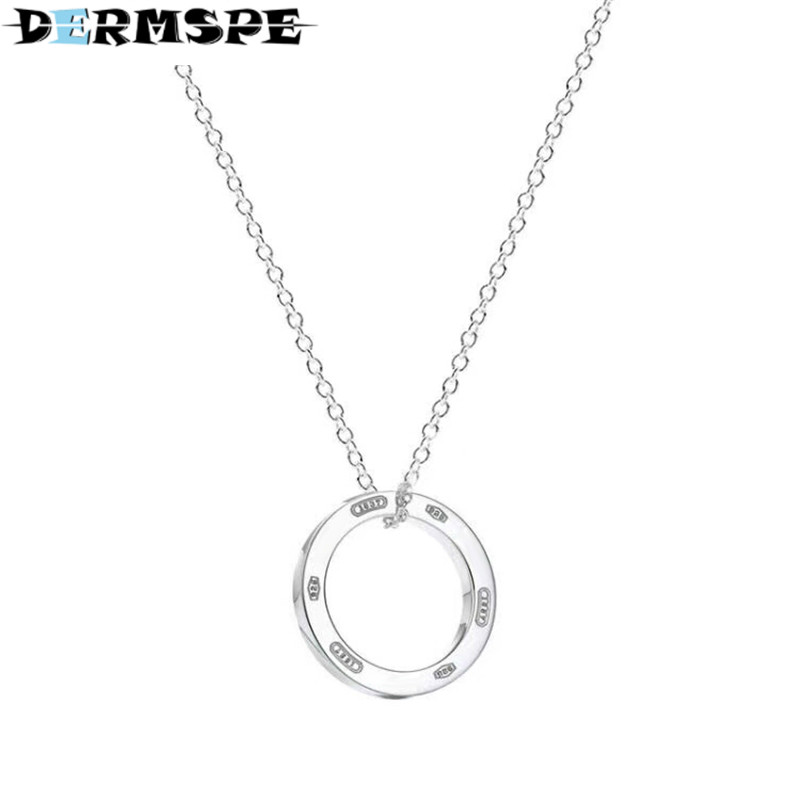 DERMSPE TIFF 925 Sterling Silver Original Round Geometric Classic Logo Pendant Necklace Charm Women Clavicle DIY Gift Jewelry qiuboss 925 sterling silver silver heart shaped enamel pendant necklace charm women clavicle diy gift jewelry