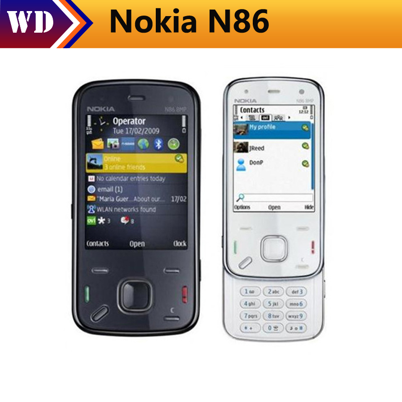 Original Refurbished Nokia N86 Mobile Phone White Unlocked N86 Cell Phone 3G WIFI 8MP Bluetooth MP3 Free Shipping mobile phone