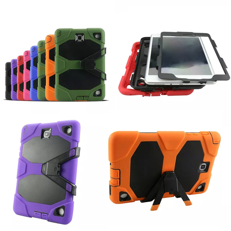 WES PC Silicone Hybrid Shockproof Stand Cover For Samsung Galaxy Tab A 9.7 SM-T550 T550 T555 T555C P555C P550 Tablet Case