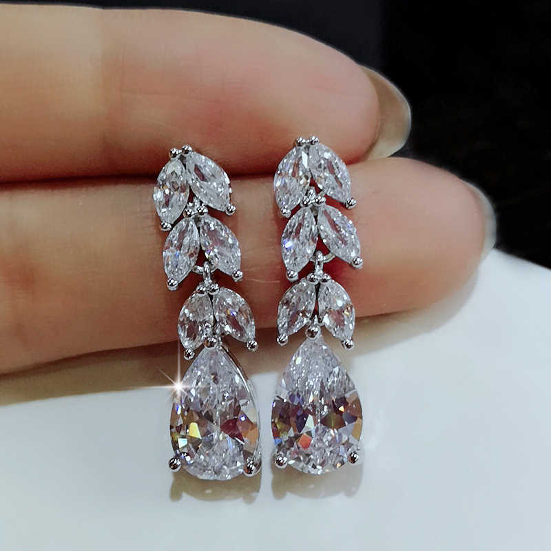 Utimtree New Luxury Statement Earings Big Crystal Fashion 925 Sterling Silver Wedding Stud Earrings Jewelry with Cubic Zirconia