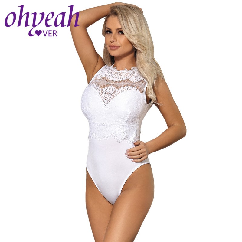 368edbed1a Ohyeahlover Sexy Lace Bodysuit Turtleneck Rompers Womens Jumpsuit Skinny  Club Playsuit Black Plus Size Body Femme Teddy RM80472-in Bodysuits from  Women's ...