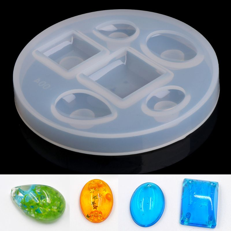 DIY Silica gel Pendant Mold Drops Pendant Resin Casting Mould Craft Making Jewelry(Square oval drop)
