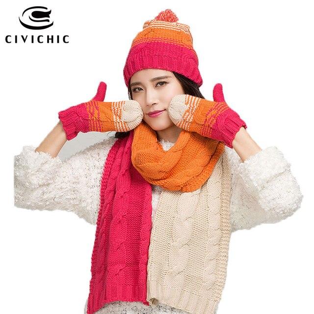 CIVICHIC Inverno Quente Set Mulher Falso de Lã de Malha Cachecol Chapéu  Luvas 3 Peça de 24258c11d5d