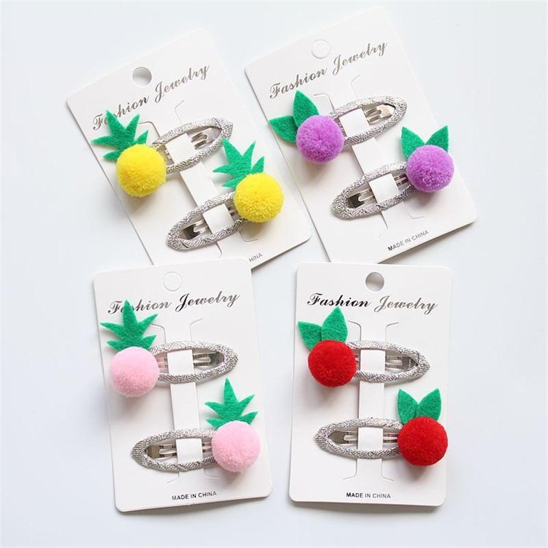1Pair Fashion BB Hairpins Fruit Pineapple Hair Clip Children Cute Chuzzle Hair Accessories Princess Girls Candy Color Hairclips