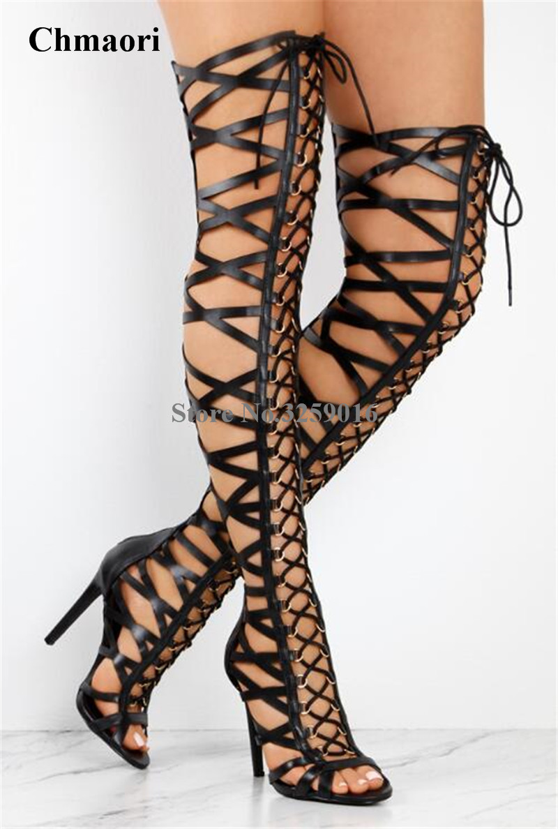 Women Summer Sexy Lace-up Straps Cross Over Knee Gladiator Boots Cut-out Super High Heel Thigh Long Sandal Boots Dress Shoes все цены